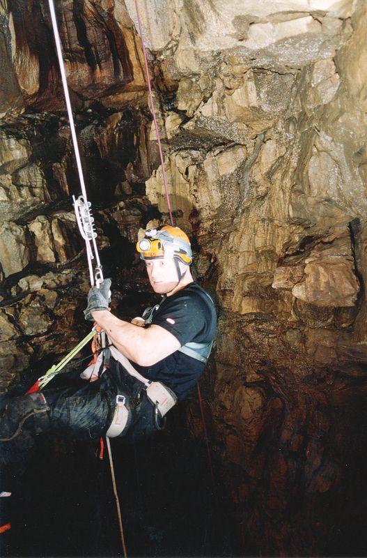 Matt descending into Parker's Pit.
