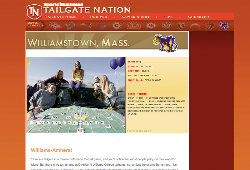 "<br><h1 style=""font-family:myriad pro""> <h3> <center>  Sports Illustrated ""Tailgate Nation""<br>                Williams vs. Amherst <p> <p> <a href=""http://sitailgate.secondthought.com/loc_williams.html"" target=""_blank""> Visit the Site </a>"
