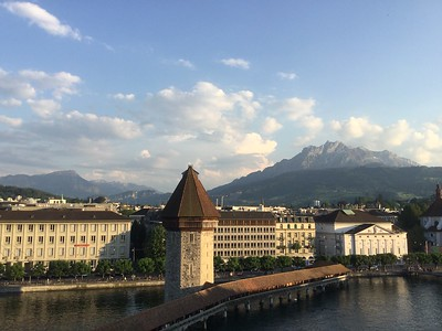 Luzern, Switzerland, with Mount Pilatus in the back.