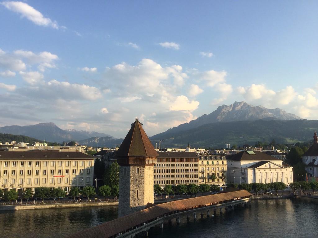 Luzern, Switzerland, with Mount Pilatus in the back.