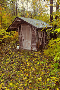 Scottie Porter's outhouse, undisclosed location in Northern Maine