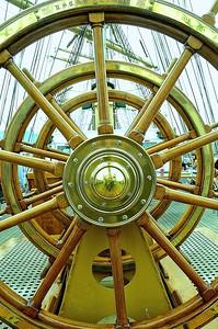 USS Eagle's wheel, U.S. Coast Guard training ship.  http://en.wikipedia.org/wiki/USCGC_Eagle_(WIX-327)