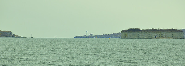Fort Gorges and Portland Headlight (center, rear), Casco Bay, Gulf of Maine