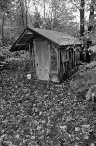 Scottie Porter's outhouse in b/w, undisclosed location, Northern Maine