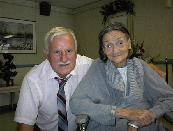My father, Norm Rhinehart (78), with his sister Mildred McWherter (84) - taken 11 Aug 2000
