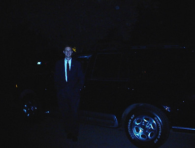 Brother Ken drove a limo in 2001, and here he is all gussied up. Sorry it's so dark.