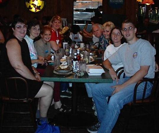 """Lunch - """"just because"""". Left to right: Kathryn, Karen, David, Kay, Dad, Norma, Raquel, Jeremy - taken 25 Aug 2001"""