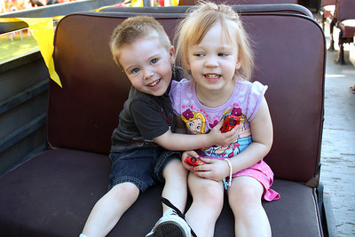 Peyton and Ashley on Thomas the Train in Filmore on April 28th.