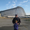 the day of the Space Shuttle Endeavor fly over. Full skeleton of Hangar One.   9/21/12