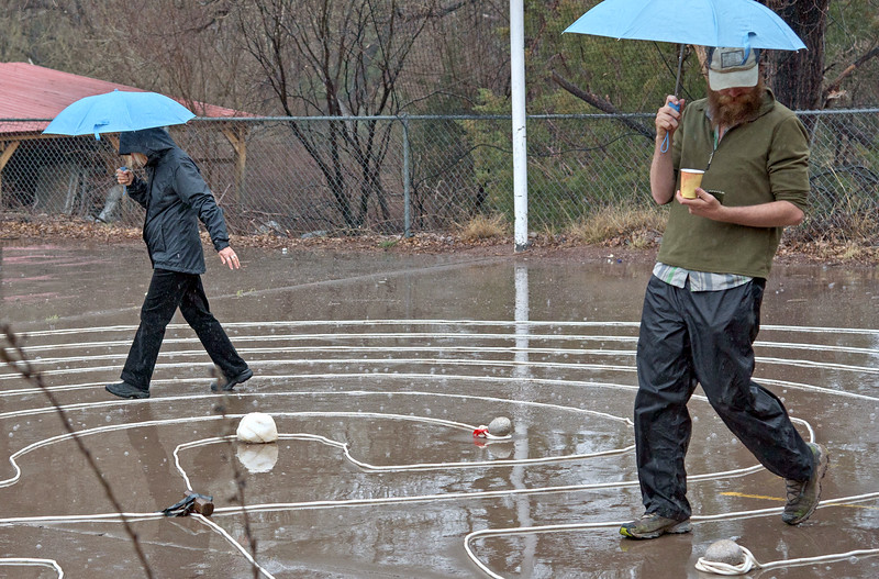 For the 2017 Red Dessert Social, Cordelia made a labyrinth behind the library. The weather was not cooperative. Nevertheless, two intrepid souls gave it a whirl.