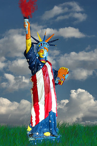 Have a safe and sane Independence day! Happy 4th of July 2011. Statue seen at South Street Seaport in NYC 2004. Transported to a new locale via PS :-)