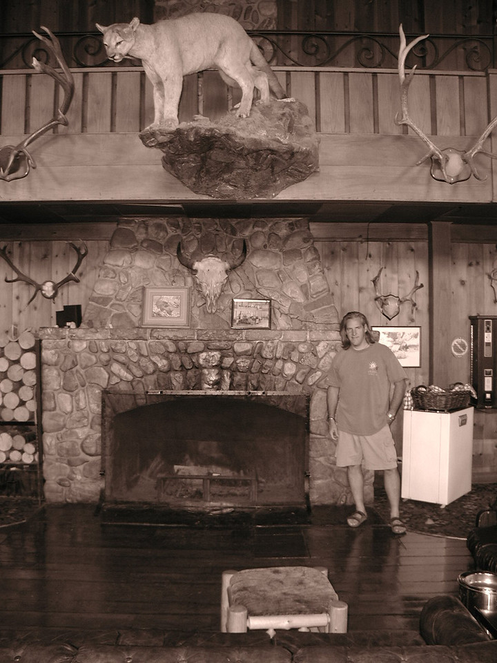 lodge somewhere in montana....with funny hair & BIGass mountain lion