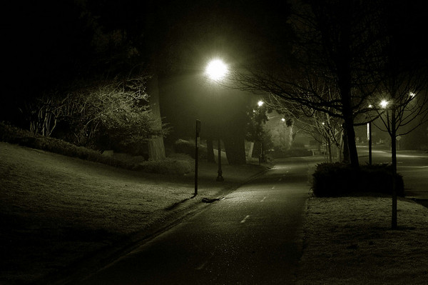 long shot of bike path at night