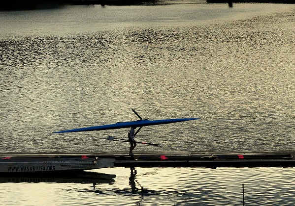 A rower readys for an enjoyable afternoon paddle on the Willamette River in Portland