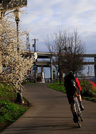 Bicylist enjoys a nice spring ride in Portland, Oregon