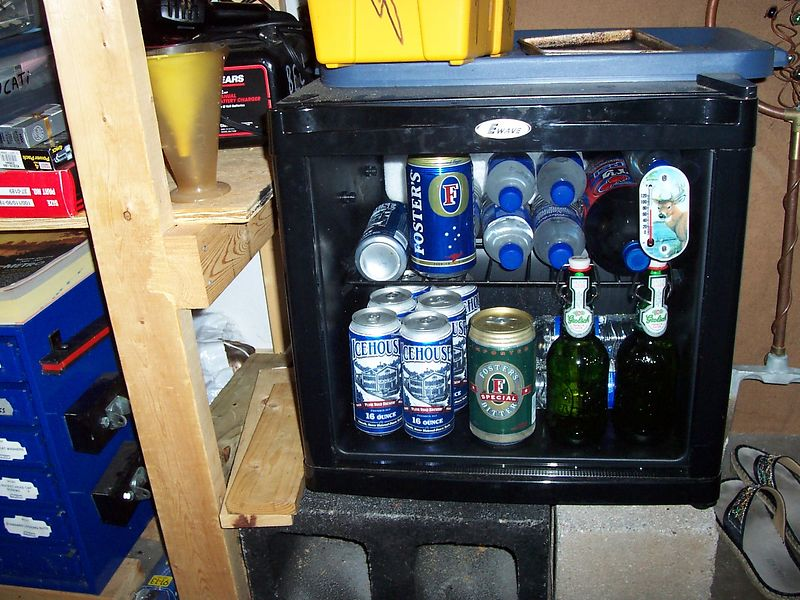 The well-stocked garage fridge.