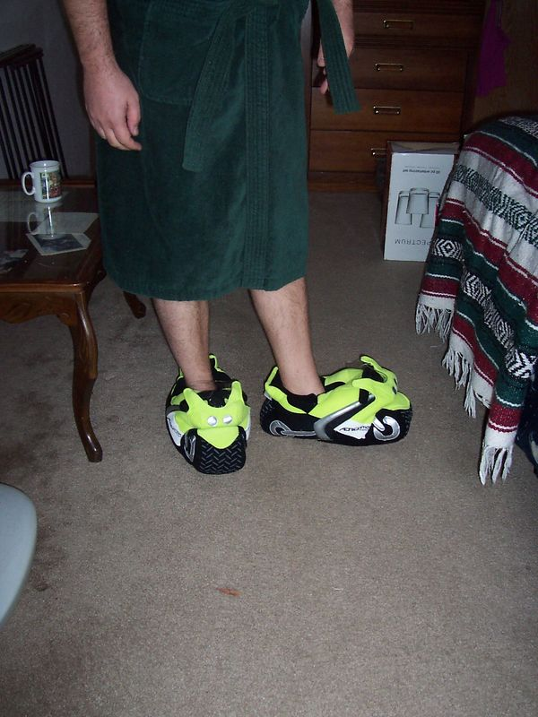 New Christmas MOTORCYCLE slippers! (Available from Aerostich)