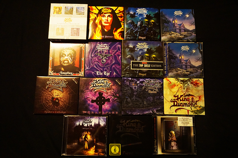 King Diamond CD collection: The Complete Roadrunner Collection 1986-1990 (Fatal Portrait, Abigail, Them, Conspiracy, The Eye) Abigail (The Top Shelf Edition), Them,  The Spider's Lullabye, The Graveyard, Voodoo, House of God,   Abigail II: The Revenge, The Puppet Master,  Give Me Your Soul...Please