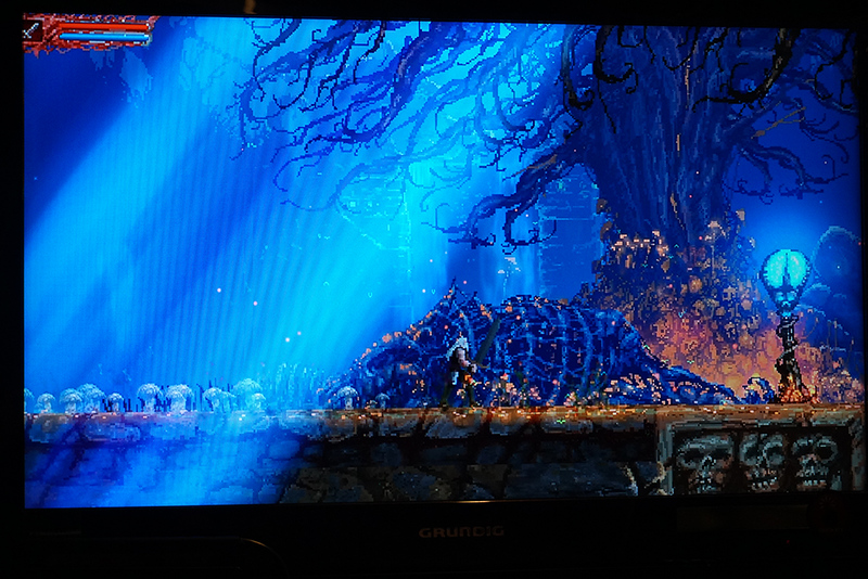 """Playing now on Switch: """"Slain: Back  from Hell"""". Castlevania meets  Shadows of the Damned. Fitting heavy metal soundtrack, too."""