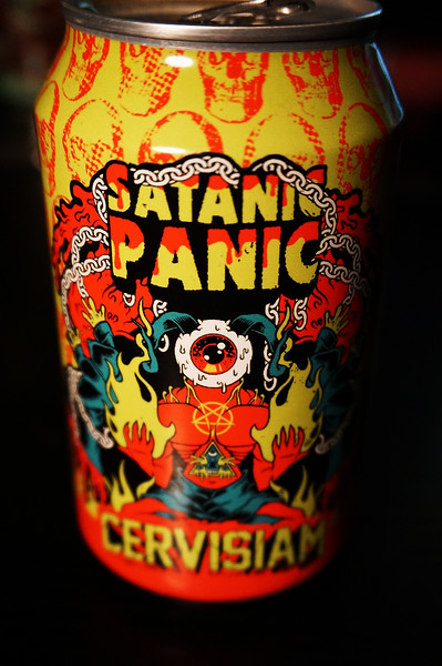 """""""Satanic panic is a sociological phenomenon that first arose in the early 80's. Everyone was horrified by being subjected to satanic ritual abuse. We have conjured a satanic ritual in the form of a dark, thick, imperial stout brewed with vanilla, molasses, cacao nibs, lactose and freshly ground coffee. This is our over the top tribute to the darkness"""""""