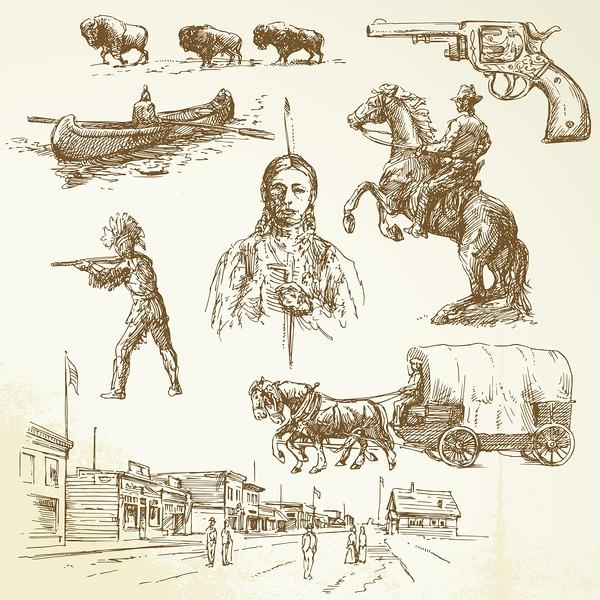 18547959 - wild west - hand drawn set