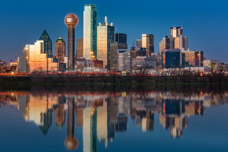 27087272 - dallas skyline reflected in trinity river at sunset