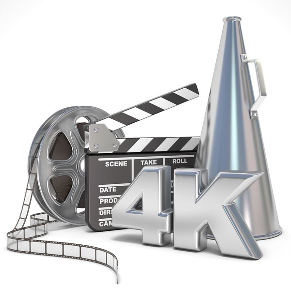 52218522 - video, movie, cinema production concept. reels, clapperboard, megaphone and 4k. 3d render illustration isolated on white background