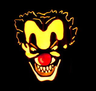Now if that isn't the most evil pumpkin you have ever seen, something is seriously wrong with you.  Not only is it a clown... it is an evil clown.. what am I saying, ALL CLOWNS ARE EVIL.   Note, base image was created from a picture in Google Image cache.  The patternized pumpkin image is not for sale and all image rights remain with original image creator.