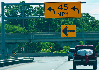 and that was not the only significant reduction we experienced on this highway.  Come on highway engineers, it is whole lot easier to design a better road that it is to plaster signage all over the place.  Almost as bad as the common Illinois practice of putting up sign that says BUMP next to a small pothole or rise in the concrete surface.  Forget the sign, you can have the issue resolved in the amount of time it takes to put up warnings near it.