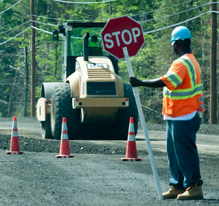 Some would see a setback to their days journey.  Linda and I view it as a paycheck and delivering on a better infrastructure for the future.    Feeling a little sorry for the dude that has to wear a powder blue safety hat to work every day, but the key point is this form of stimulus money is directly employing two people in the picture.
