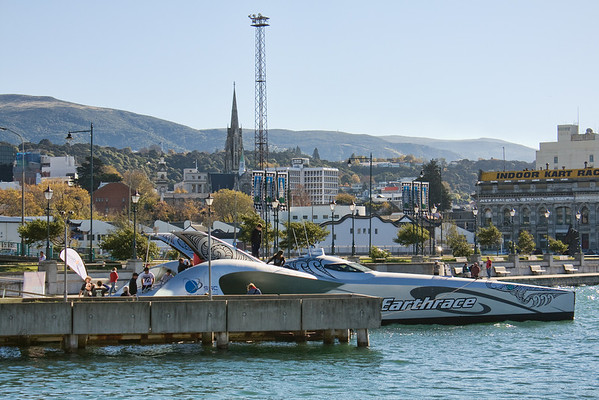 The Earthrace boat visits sunny Dunedin.