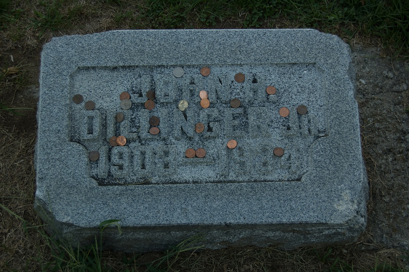 John Dillinger's grave marker at Dillinger family plot at Crown Hill Cemetary