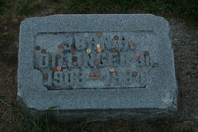 John Dillinger's grave marker at Dillinger family plot at Crown Hill Cemetary