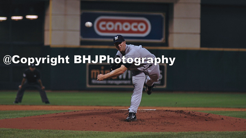 Chris Capuano formerly of the Milwaukee Brewers pitches at Minute Maid Park, Houston, Texas
