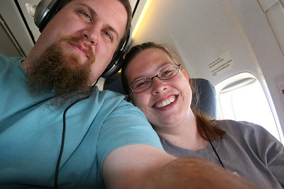 The wife and I on a flight back from Florida.