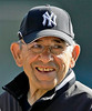 New York Yankees legend Yogi Berra laughs before the Yankees faced  the Boston Red Sox in their spring baseball game at Legends Field in Tampa, Fla., Monday, March 17, 2008. (AP Photo/Kathy Willens)