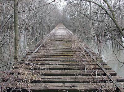 Abandoned railroad bridge over the Kaskaskia river in Chesterville, Illinois