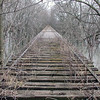 Abandoned railroad bridge over the Kaskaskia river in Chesterville, Illinois