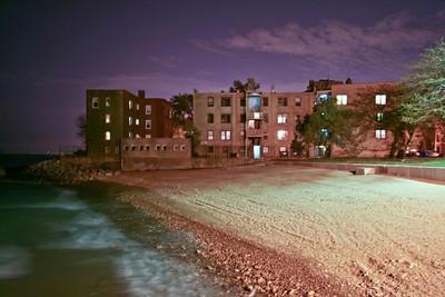 The little beach close to where Luke lived in Chicago - 2008 Taken around midnight