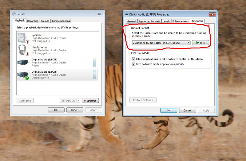 W7 audio output sample rate setting dialog