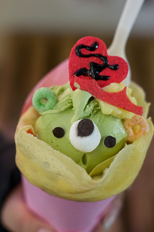 Green Tea Ice Cream from Belly Good Cafe & Crepes in San Francisco's Japan Town ref: fdd89cce-ae0c-4b38-b86e-cdae6974d46a