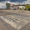 Best HDR stock photos, Tire marks on Route 66 road marker, New Mexico road trips