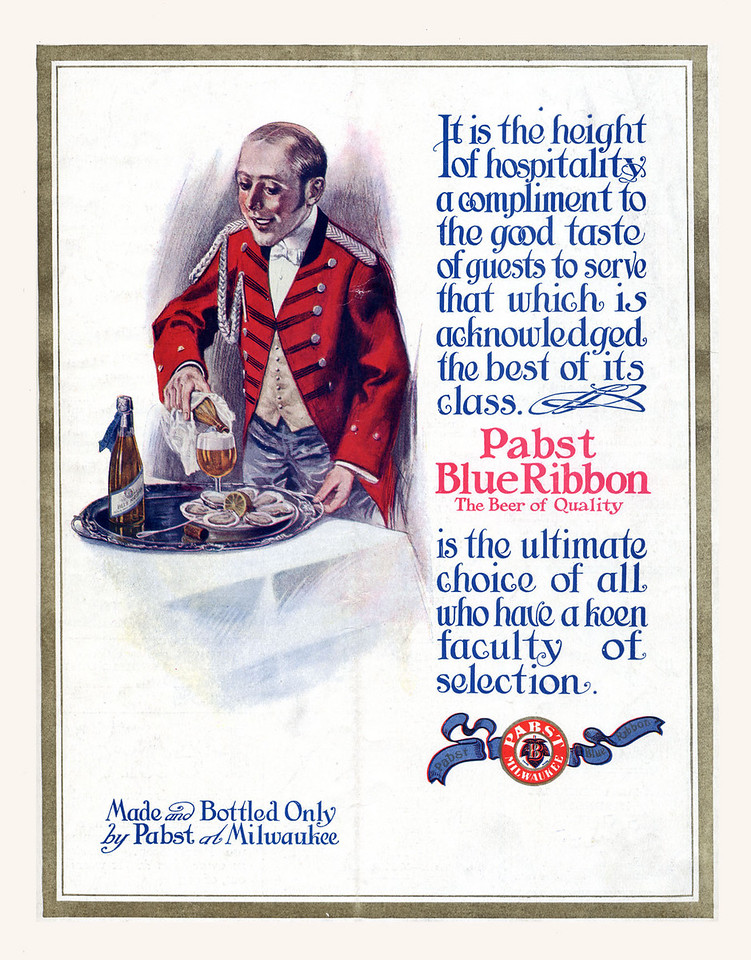 Pabst Blue Ribbon is the most famous product of the Pabst Brewing Company. Originally called Best Select, and then Pabst Select, the current name came from the blue ribbons that used to be tied around the bottle neck, a practice that ran from 1882 until 1916.