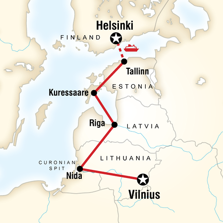 Route of my Baltics Tour with G Adventures