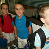 Waiting outside of their class for the first day of Kindergarten....Nolie, Yenner and Zachie...