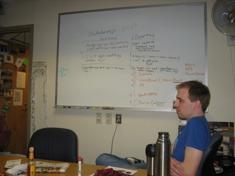 Elliot and the white board in the DRCC