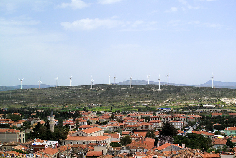 17 April 2010<br /> Looking across Alaçatı at one of the wind farms in the area.