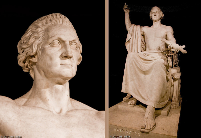 28 February 2010<br /> Smithsonian National Museum of American History - Washington DC<br /> George Washington, sculpture by Horatio Greenough, 1840<br />  <br /> To commemorate the centennial of Washington's birth in 1832, Congress commissioned a statue to be displayed in the Capitol Rotunda. As soon as the marble statue arrived in the capital city in 1841, however, it attracted controversy and criticism. Greenough had modeled his figure of Washington on a classical Greek statue of Zeus, but many Americans found the sight of a half-naked Washington offensive, even comical. After the statue was relocated to the east lawn of the Capitol in 1843, some joked that Washington was desperately reaching for his clothes, on exhibit at the Patent Office several blocks to the north. In 1908 Greenough's statue finally came in from the cold: Congress transferred it to the Smithsonian. It remained at the Castle until 1964, when it was moved to the new Museum of History and Technology (now the National Museum of American History). The marble Washington has held court on the second floor ever since.