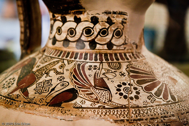 20 April 2010<br /> İzmir Museum of Archaeology<br /> Detail from an oinochoe (a wine jug and a key form of Greek pottery) - 620-610 BC - Old İzmir