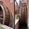 21 March 2010<br /> The millwright could reach through the small opening (little red door at the top of the wheel) to open the flume to let the water flow down into the buckets of the waterwheel.